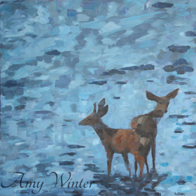 two deer standing in a blue river