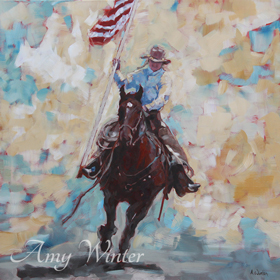 cowgirl riding a horse carrying a US flag riding at the viewer