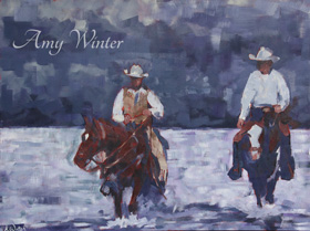 two cowboys riding across a river